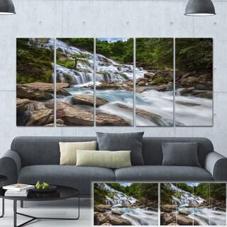 Designart 'White Mae Ya Waterfall Landscape' Photo Canvas Print - White