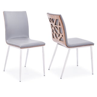Armen Living Crystal Dining Chair in Brushed Stainless Steel finish with Grey PU Upholstery and Walnut Back (Set of 2)