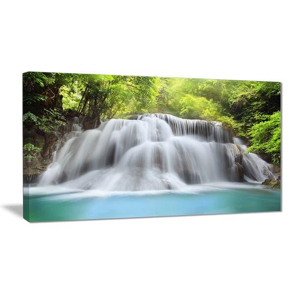 Designart White Huai Mae Kamin Waterfall Canvas Art Print White Overstock 11664360