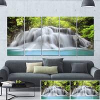 Designart 'White Huai Mae Kamin Waterfall' Canvas Art Print - White