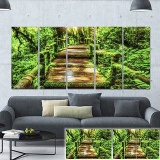 Designart 'Moss around Wooden Walkway in Rain' Photo Canvas Print