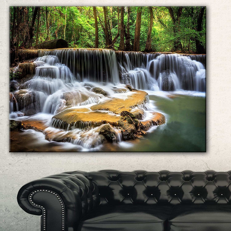 Designart Level Six Of Huai Mae Kamin Waterfall Canvas Print White Overstock 11664366