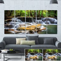 Designart 'Level Six of Huai Mae Kamin Waterfall' Canvas Print - White