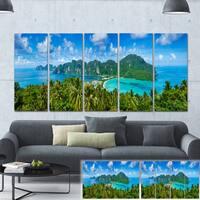 Designart 'Tropical Island Panorama' Photo Canvas Art Print - Green