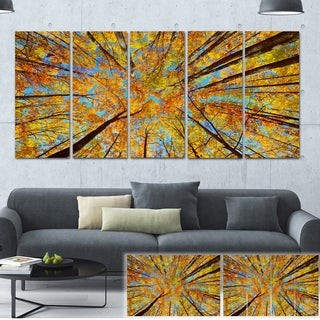 Designart 'Tree Tops in Autumn Forest' Trees Photo Canvas Art Print