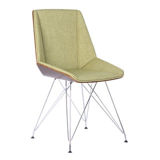Armen Living Pandora Chair in Chrome finish with Walnut wood and Fabric upholstery (color options)