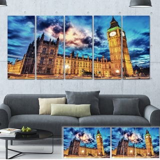 Designart 'Big Ben and House of Parliament' Cityscape Photo Large Canvas Print