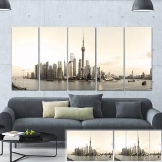 Designart 'Shanghai's Modern Architecture' Cityscape Photo Large Canvas Print