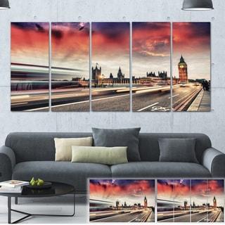 Designart 'London Westminster Bridge' Cityscape Photo Large Canvas Print