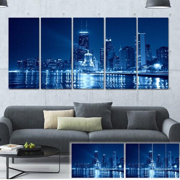 shop designart blue chicago skyline night cityscape photo large