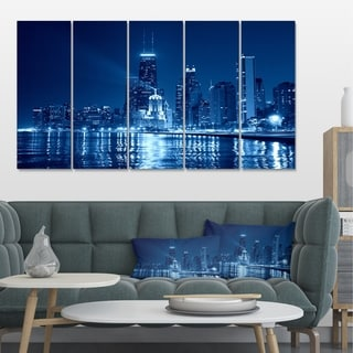 Designart 'Blue Chicago Skyline Night' Cityscape Photo Large Canvas Print