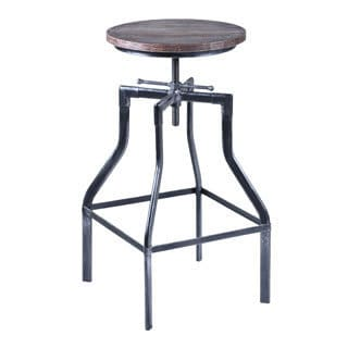 Armen Living Concord Swivel Adjustable Barstool in Industrial Copper or Grey finish with Ash Pine Wood seat