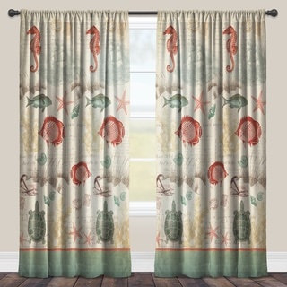 Laural Home Coral Seaside Maritime Sheer Curtain Panel (Single Panel)