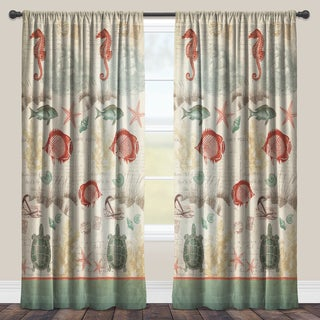 Laural Home Coral Seaside Maritime Sheer Curtain Panel (Single Panel)