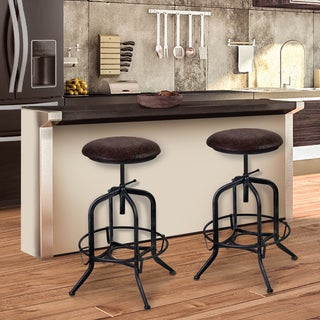 Armen Living Elena Adjustable Barstool in Industrial Grey Finish with Brown Fabric Seat