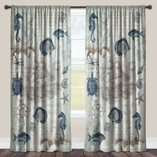 Laural Home Vintage Seaside Maritime Sheer Window Curtain (Single Panel)