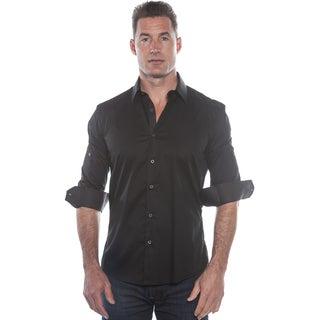Isaac B. Black Solid Long Sleeve Button Down Shirt
