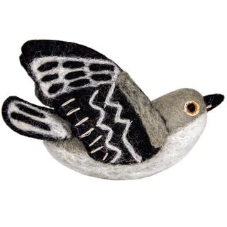 Wild Woolies Felt Bird Garden Ornament - Mockingbird (Nepal)
