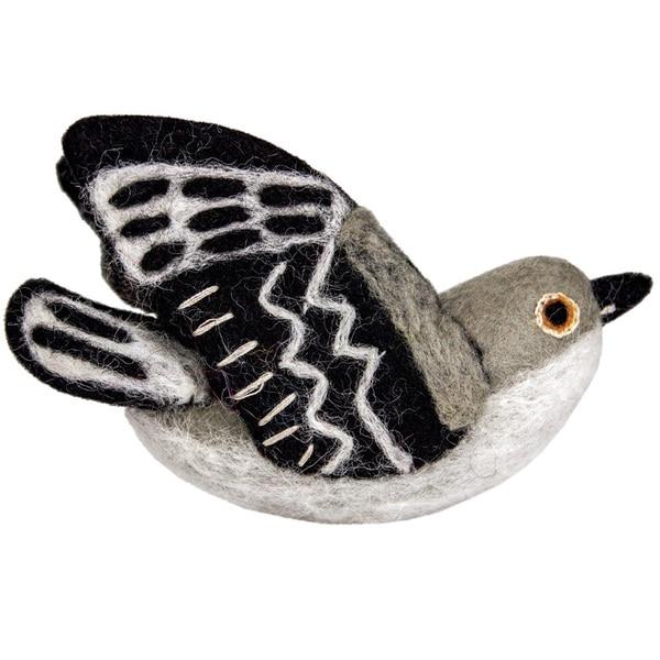 Handmade Wild Woolies Felt Bird Garden Ornament - Mockingbird (Nepal). Opens flyout.
