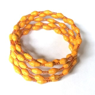Spiral Recycled Paper Orange Bracelet (Uganda)