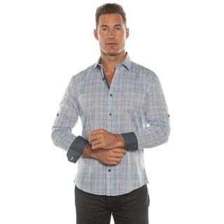 Isaac B. Blue/ Grey Plaid Long Sleeve Button Down Shirt