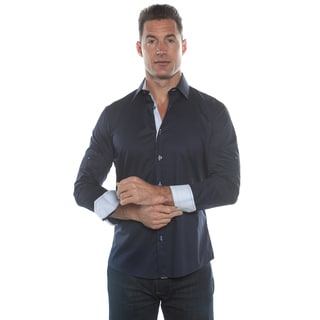 Isaac B. Dark Blue Solid Long Sleeve Button Down Shirt