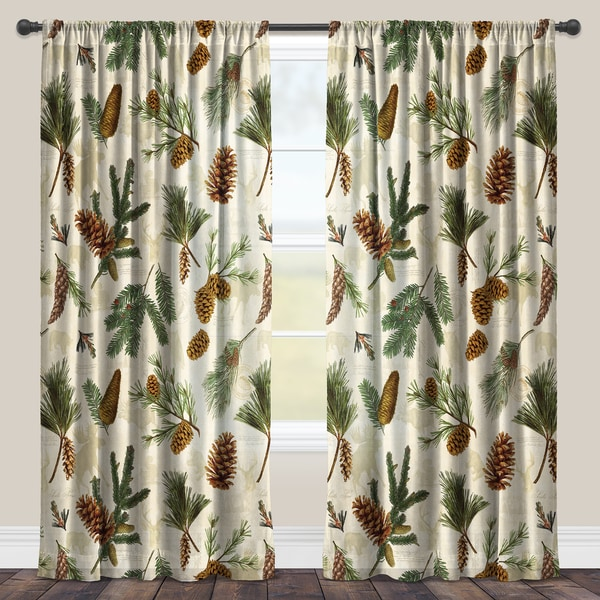 laural home evergreen pinecones sheer curtain panel single panel