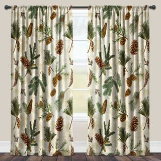 Laural Home Evergreen Pinecones Sheer Curtain Panel (Single Panel)|https://ak1.ostkcdn.com/images/products/11664454/P18593925.jpg?impolicy=medium