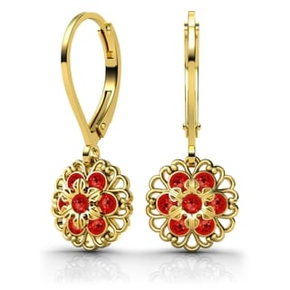 Lucia Costin Silver, Red Austrian Crystal Earrings with Center Flower