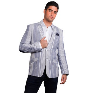 Elie Balleh Men's Milano Italy Navy Stripe Slim Fit Jacket