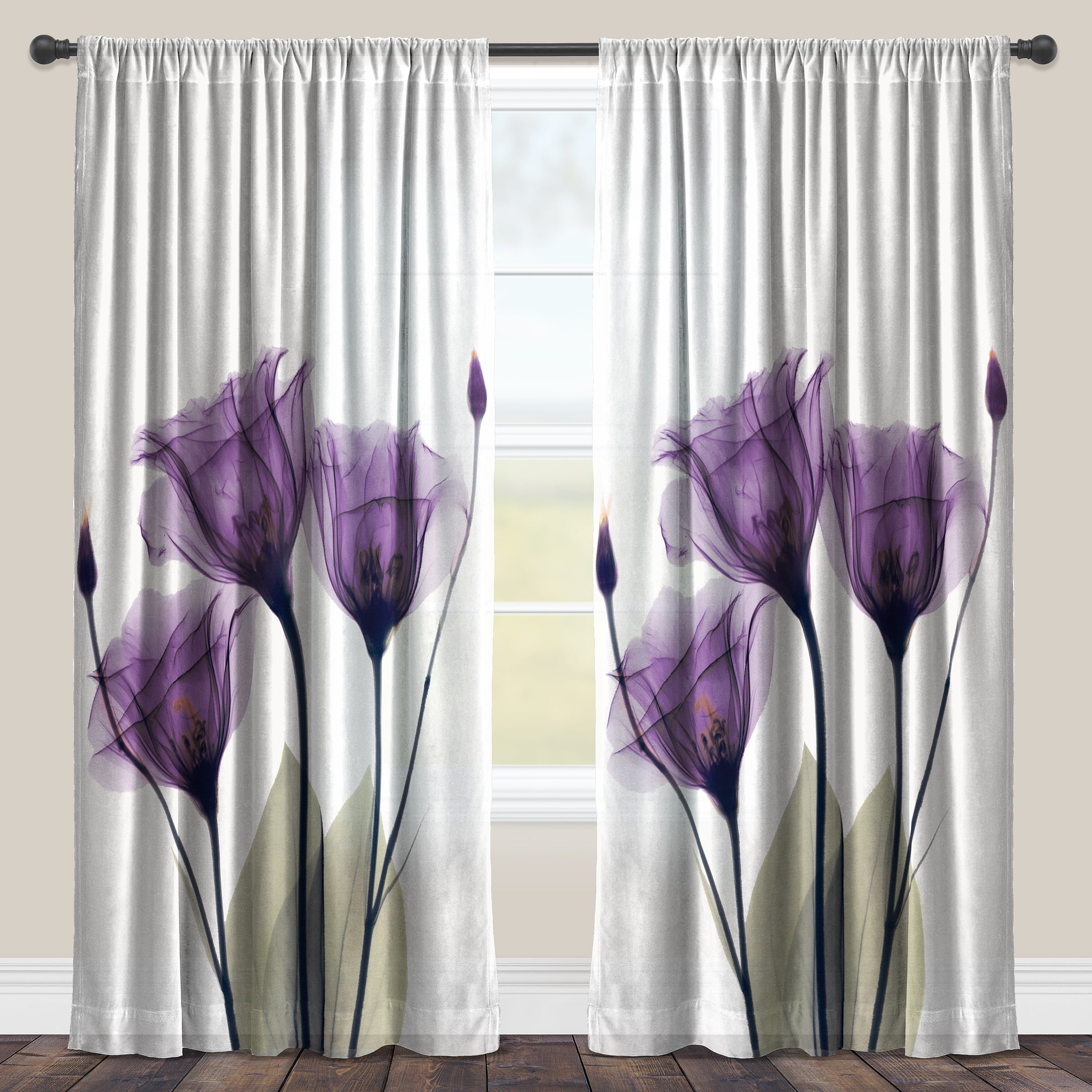 Laural Home Lavender Floral X Ray Sheer Curtain Panel Single Panel On Sale Overstock 11664477