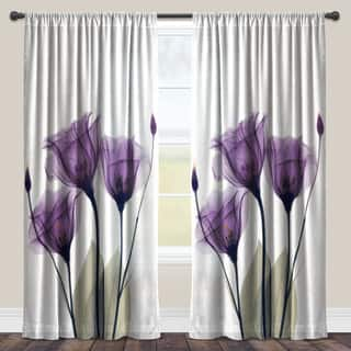Laural Home Lavender Floral X-Ray Sheer Curtain Panel (Single Panel)|https://ak1.ostkcdn.com/images/products/11664477/P18593981.jpg?impolicy=medium