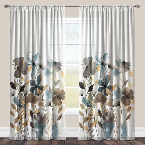 Laural Home Watercolor Greige Flowers Sheer Curtain Panel (Single Panel)
