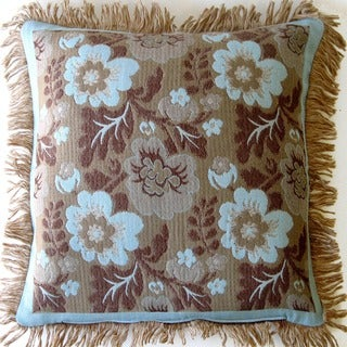 Wool Throw Pillow with Floral Design and Fringe Border