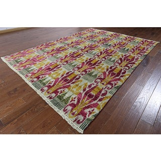 Hand-knotted Ikat Off-White Wool Area Rug (7'9 x 10'5)