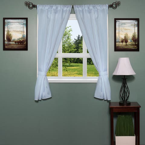 Classic Hotel Quality Water Resistant Fabric Curtain Set with Tiebacks - 36 X 54 - 36 X 54