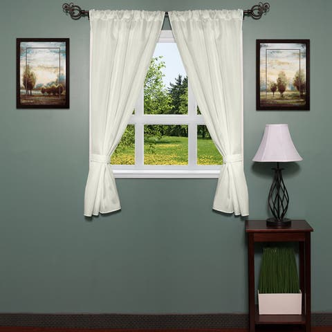 Classic Hotel Quality Water Resistant Fabric Curtain Set with Tiebacks - 36 X 54