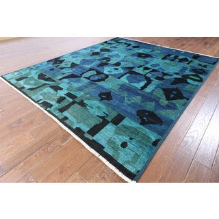 Hand-knotted Ikat Blue Wool Area Rug (8'1 x 9'9)