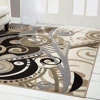Home Dynamix Sumatra Collection Contemporary Brown Area Rug - Brown/White - 5'3