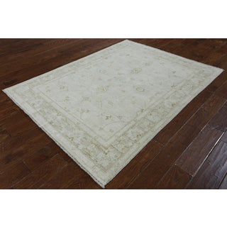 Hand Knotted Peshawar White Wool Area Rug (5' x 6'4)