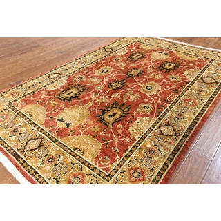 Hand-knotted Peshawar Rust Wool Area Rug (5'10 x 8'10)