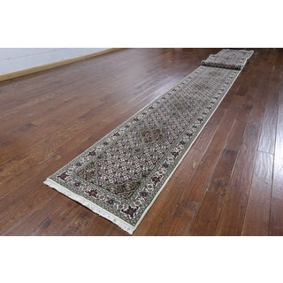 Hand-knotted Tabriz Ivory Wool and Silk Runner Rug (2'6 x 24'6)