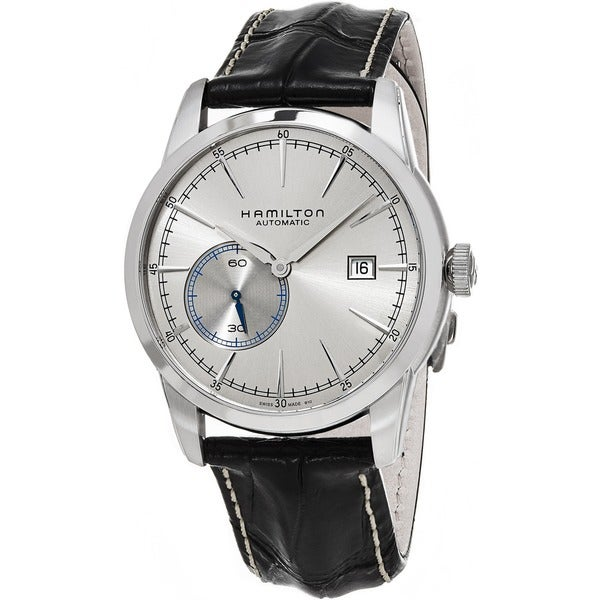 Hamilton Men's 'American Classic' Silver Dial Black Leather Strap Railroad Small Seconds S