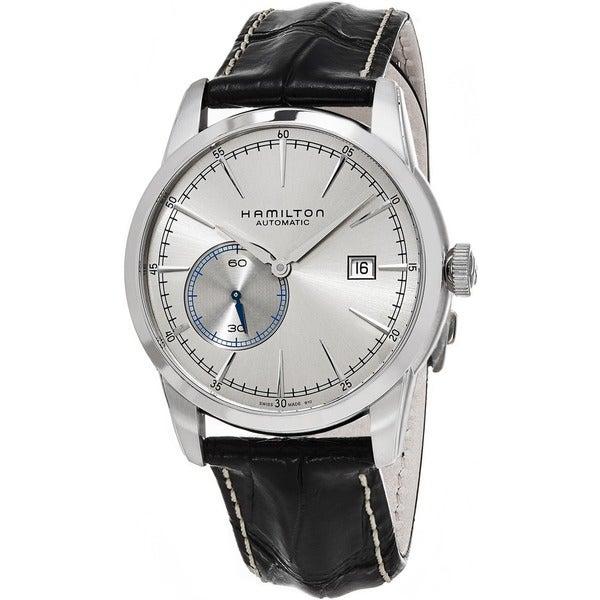 Hamilton Men's H40515781 'American Classic' Silver Dial Black Leather Strap Railroad Small Seconds S