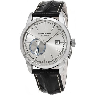 Hamilton Men's H40515781 'American Classic' Silver Dial Black Leather Strap Railroad Small Seconds S