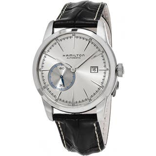Hamilton Men's H40515781 'American Classic' Silver Dial Black Leather Strap Railroad Small Seconds S|https://ak1.ostkcdn.com/images/products/11664572/P18594105.jpg?impolicy=medium