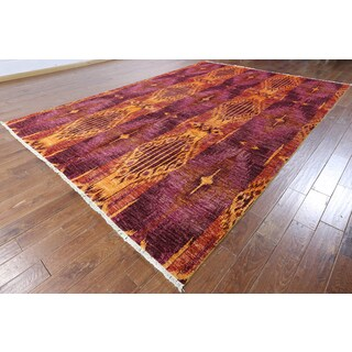 Hand-knotted Ikat Multi-color Wool Area Rug (9' x 12'9)