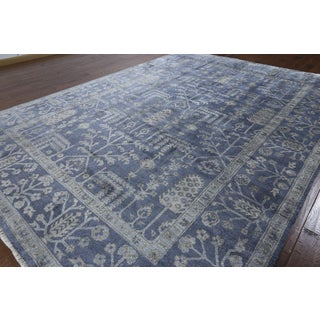 Hand-knotted Oriental Blue Silk Area Rug (8'9 x 10'10)