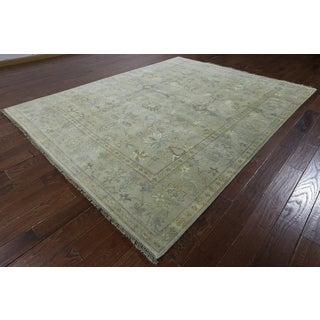 Hand-knotted Oushak Ivory Wool Area Rug (7'11 x 9'10)