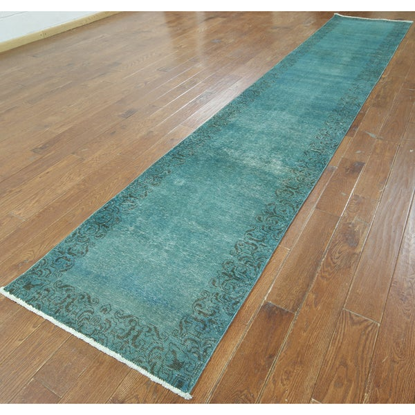 Hand-knotted Overdyed Teal Wool Runner Rug (2'7 X 16'5